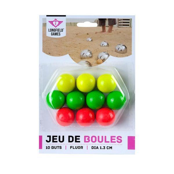 10 Cochonnets colorés en bois