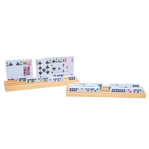 Porte-cartes et dominos en bois 26 x 6 cm