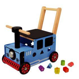 Porteur en bois pour bébé le petit train bleu