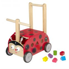 Chariot de marche et porteur en bois La Coccinelle