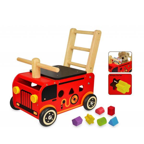 Pousseur porteur multifonctions camion de pompier en bois