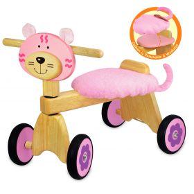 Porteur pousseur en bois le Vélo 4 roues Chaton rose