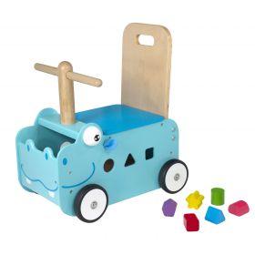Chariot de marche et porteur en bois Hippopotame