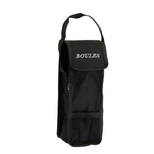 Sacoche noire de pétanque pour jeu de 3 boules
