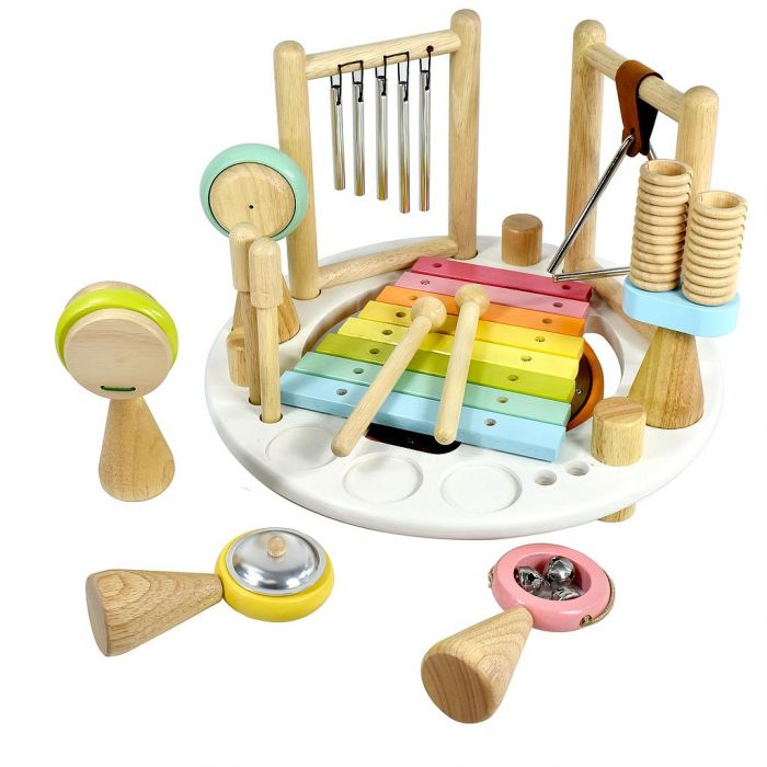Centre Musical Melody Mix en bois, couleurs pastel rond