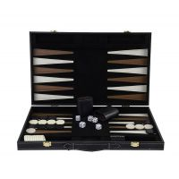 Grand jeu de Backgammon en bois finitions simili cuir