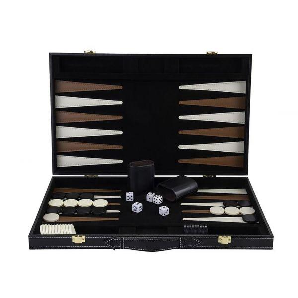 Grand jeu de Backgammon en bois finitions simili cuir