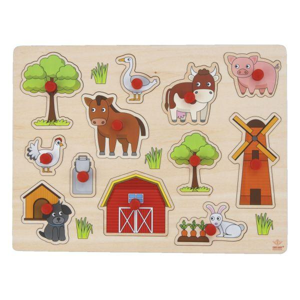 La Ferme Puzzle d'encastrement en bois de qualité avec boutons pour bébé de 2 ans et +