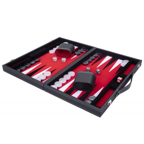 Jeu de Backgammon de luxe 38 cm, rouge