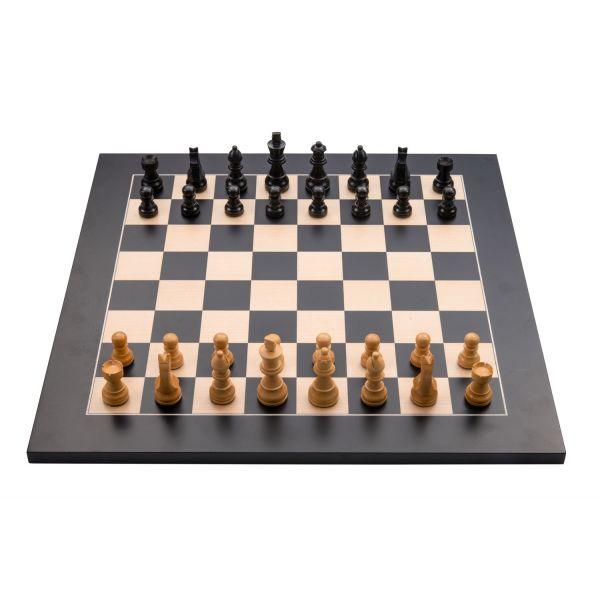 Jeu d'échecs de luxe marqueté en bois 40 cm