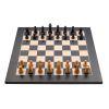 Jeu d'échecs de luxe marqueté en bois 40 cm noir/ naturel