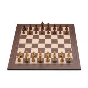 Jeu d'échecs de luxe marqueté en bois 40 cm marron / naturel
