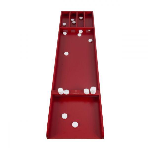 Shuffleboard Rouge Jeu de palets en Bois laqué de Luxe 120 cm avec accroche Murale