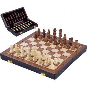 Coffret de jeux d'échecs de luxe en bois 45,5 cm