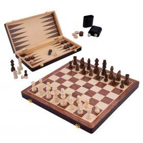 Coffret de jeux de luxe en bois Echecs / Backgammon 38,5 cm