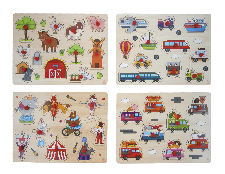 puzzle en bois encastrement et bouton pour enfants et bébé
