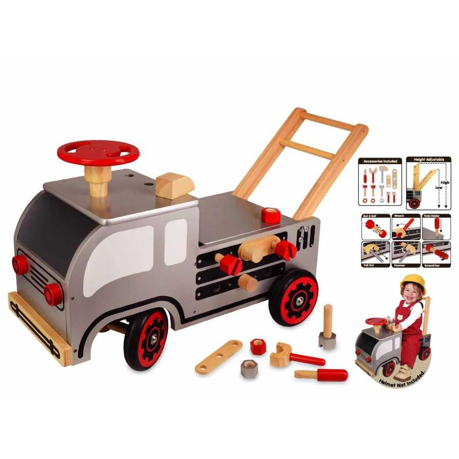 8ed394d46a6f Pousseur porteur multifonctions camion bricolo en bois, jouets en ...