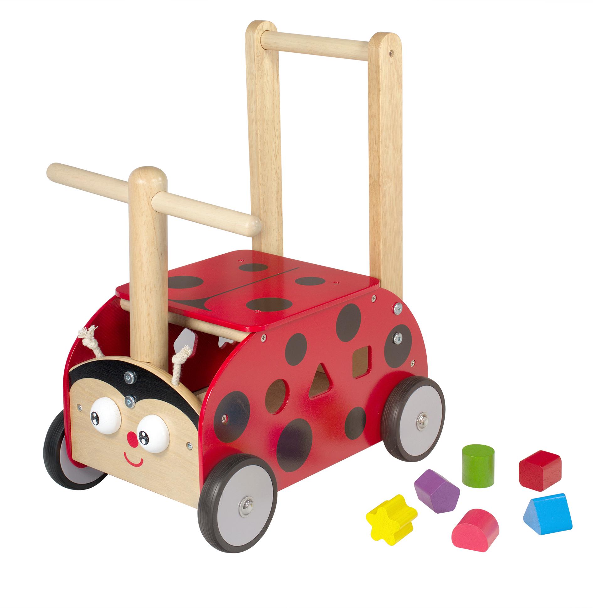 La coccinelle jouet en bois pour bébé trotteur porteur chariot
