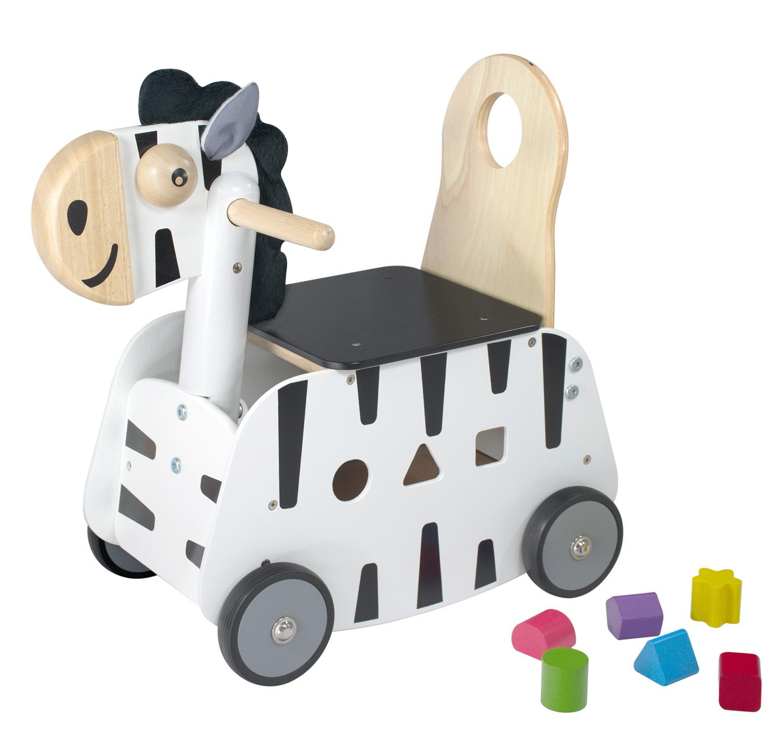 Porteur pousseur chariot à pousser en bois pour bébé Le zèbre