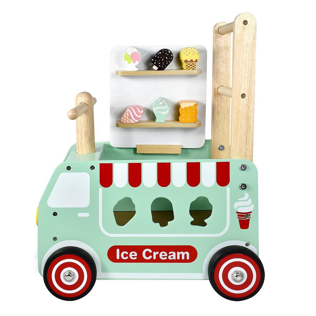chariot de glaces porteur en bois pour bébé 1 an