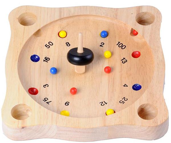 roulette tyrolienne en bois , toupie roulette en bois